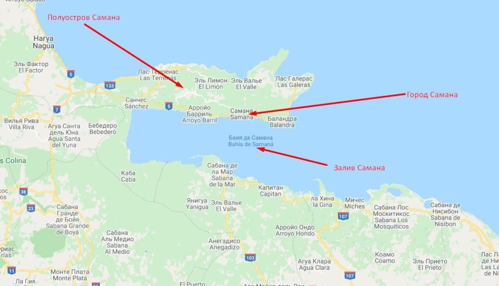 карта полуострова самана