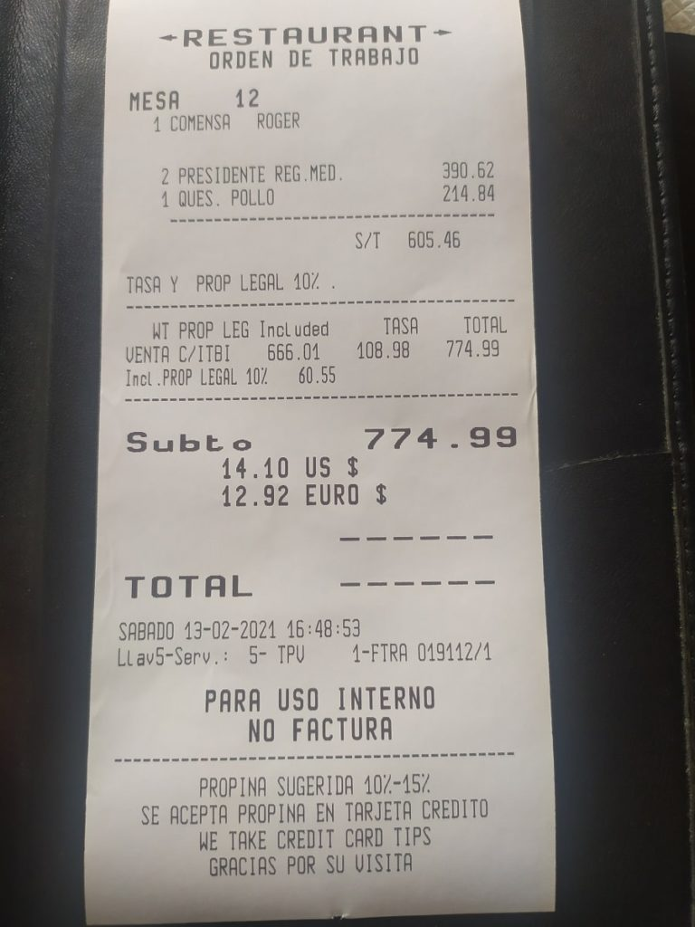 чек из ресторана доминиканы